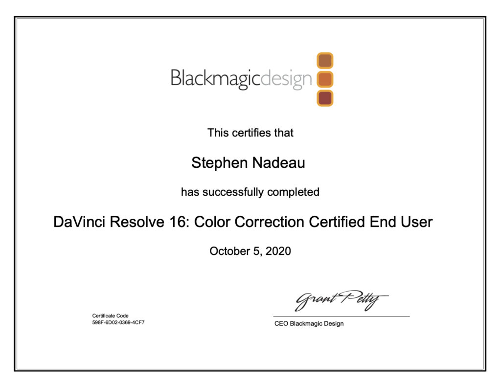 DaVinci Resolve Color Correction Certification