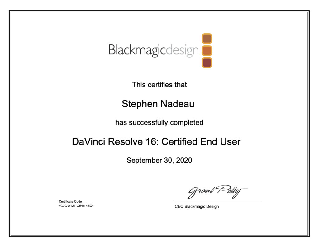 DaVinci Resolve End User Certification