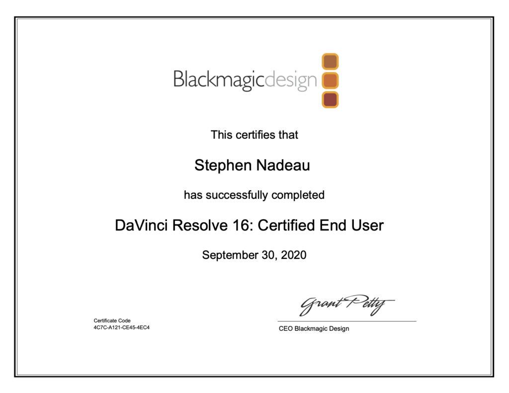 DaVinci Resolve End User Certification