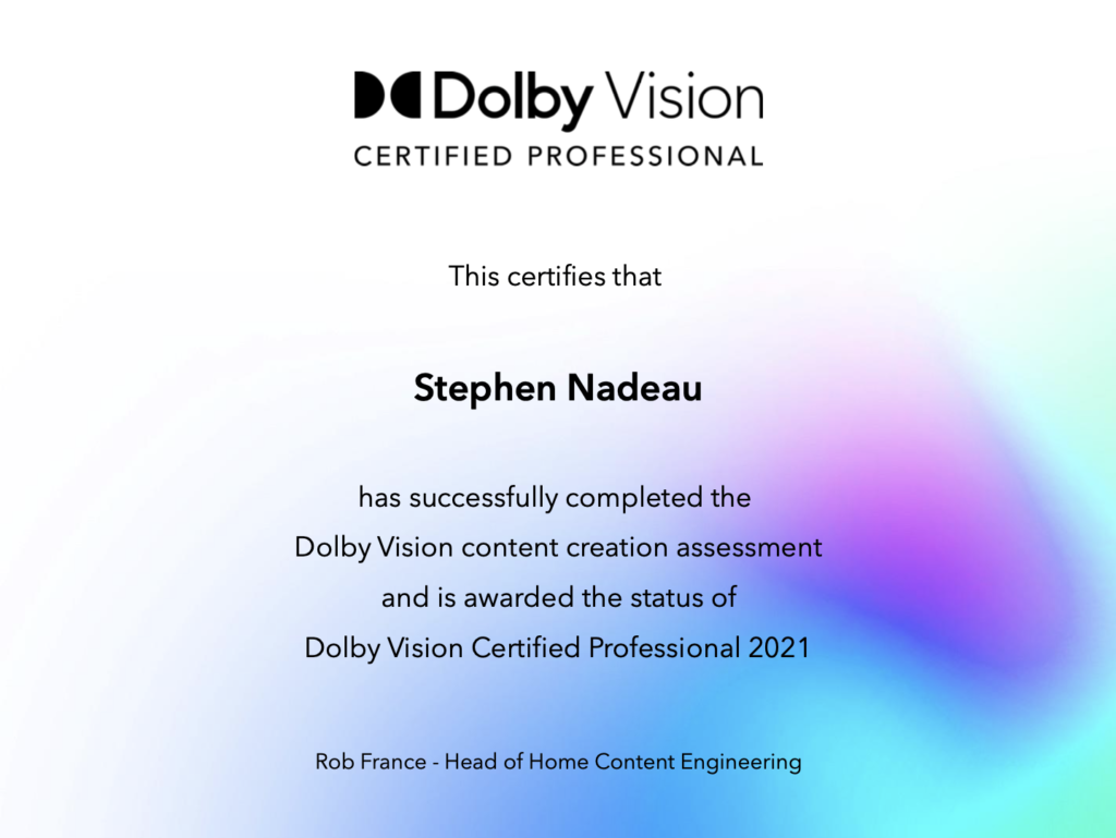 Dolby Vision Certification